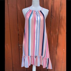 Listicle Pink Striped Dress Small NWT